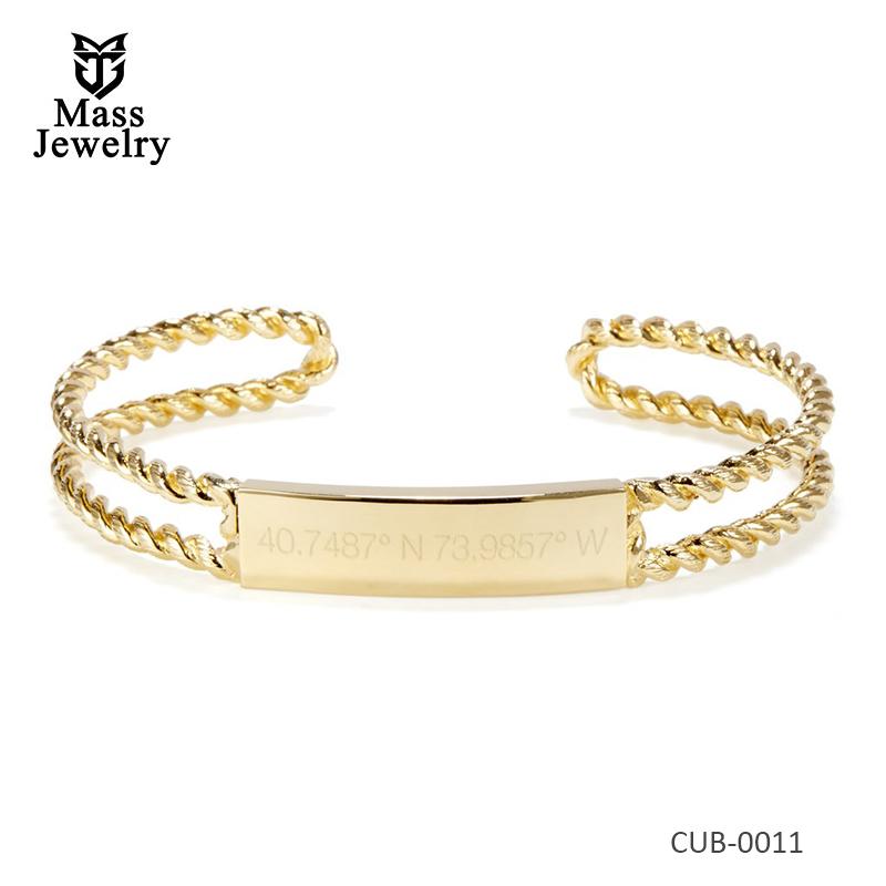 Women jewelry gold plated brass bracelet