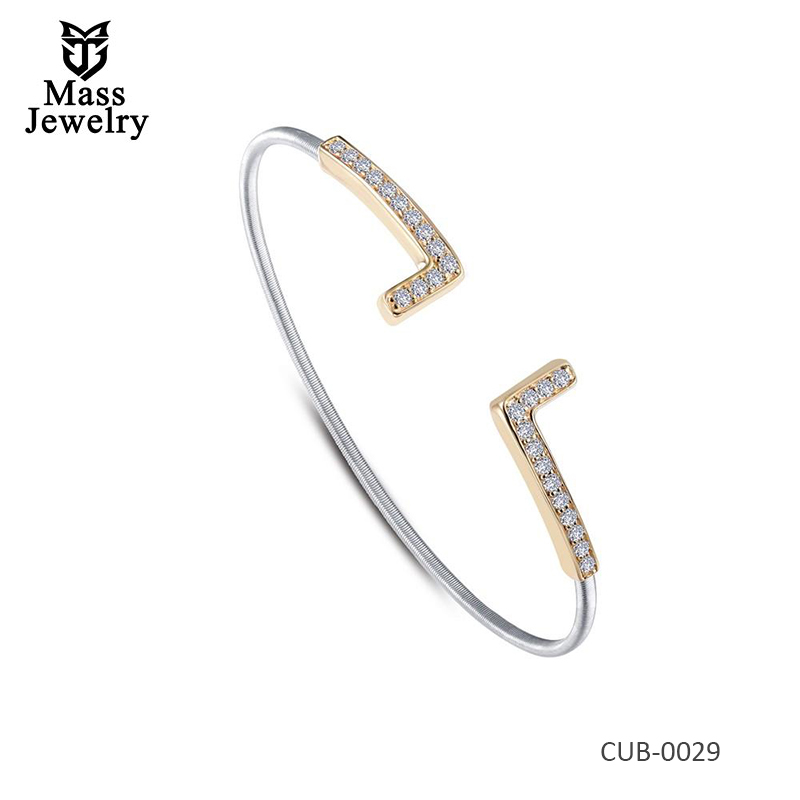 Romantically 2-Tone Plated Brass Simulated  Bracelet