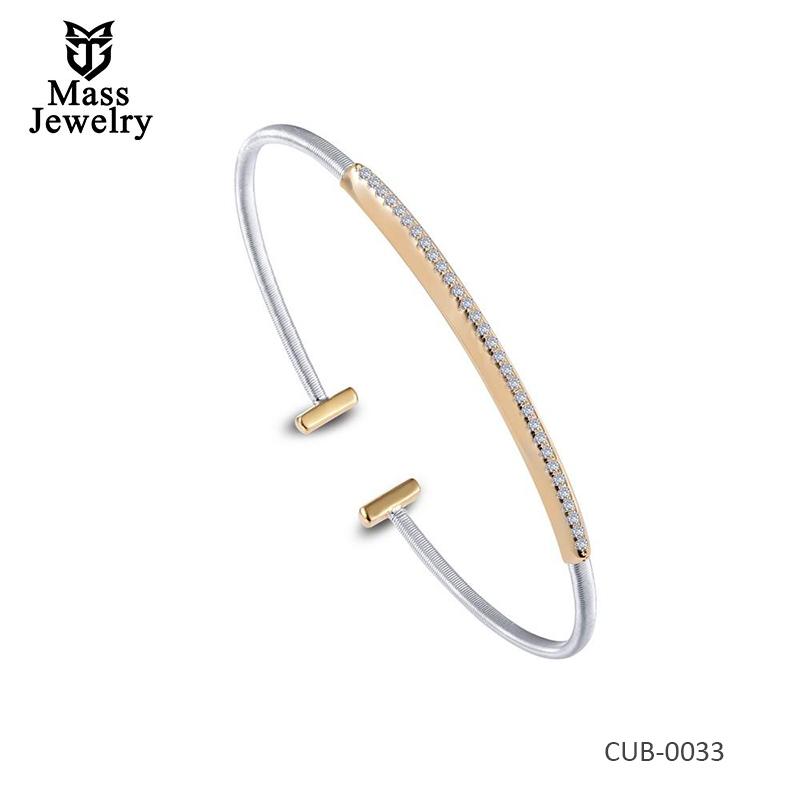 Brass 2-Tone Plated Simulated Diamond Bracelet