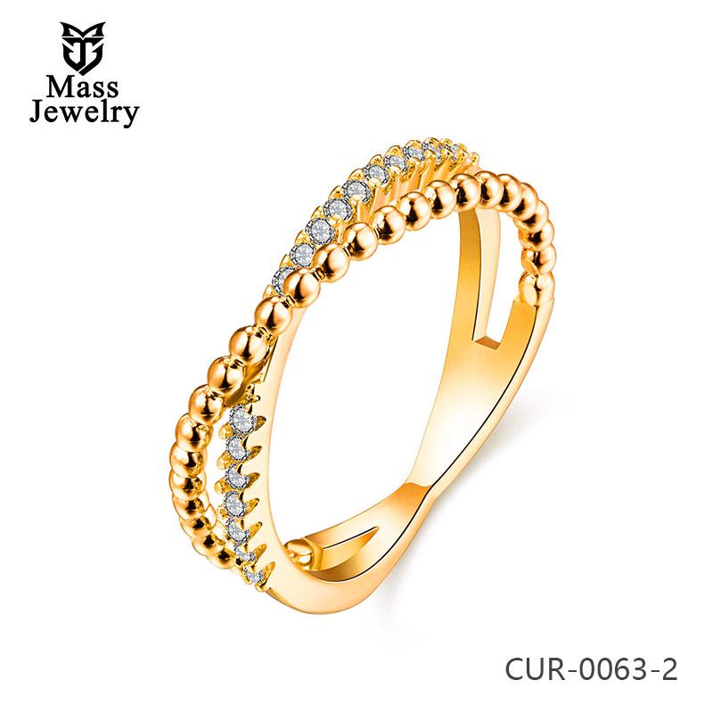 Hot Trending 18K Gold Dubai Wedding Brass Diamond Rings Jewelry For Women
