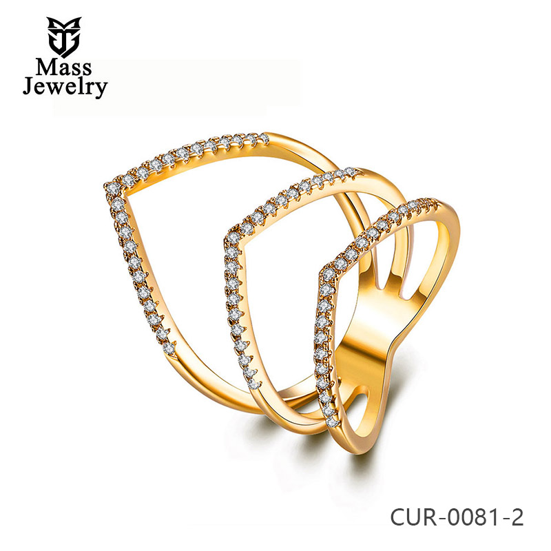 Brass Jewelry Gold Plated White Cz Stone Ring