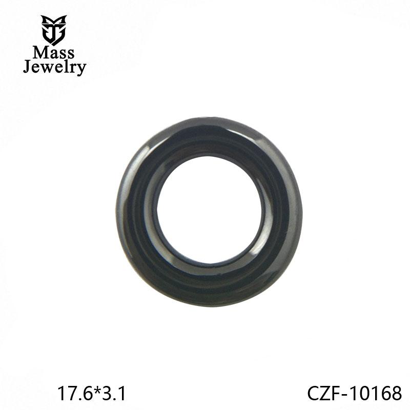 Ceramic Micro-Inlaid Zircon Black And White Couple Semi-Circular Gold Metal Ceramic Accessories