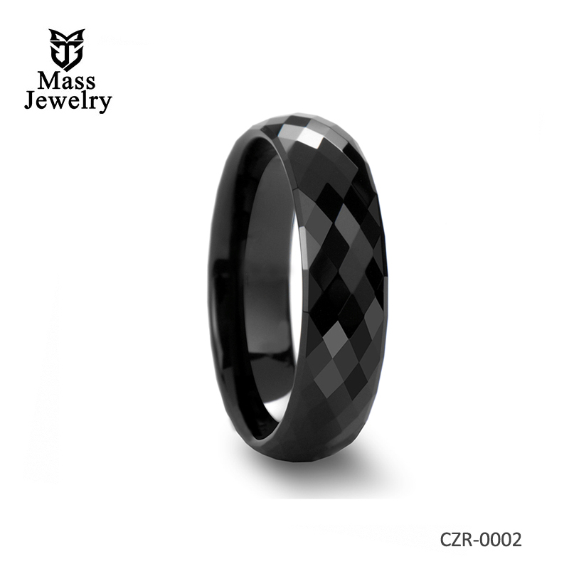Black High-tech Ceramic Ring with Diamond Faceted – 4mm – 8mm