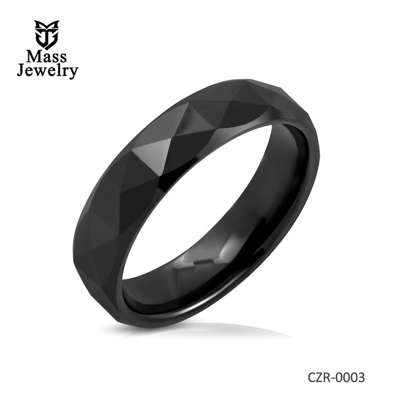 6mm Black Ceramic Faceted Half-Round Comfort Fit Half Round Band Ring