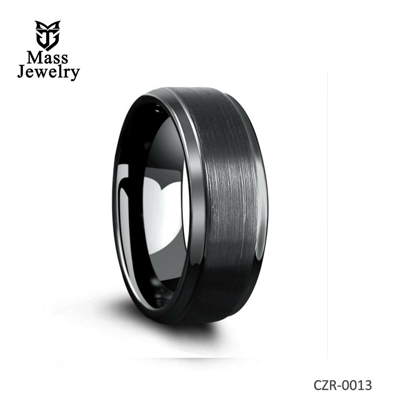 Designed With Brushed Center and Polished Step-down Edges Wedding Ring
