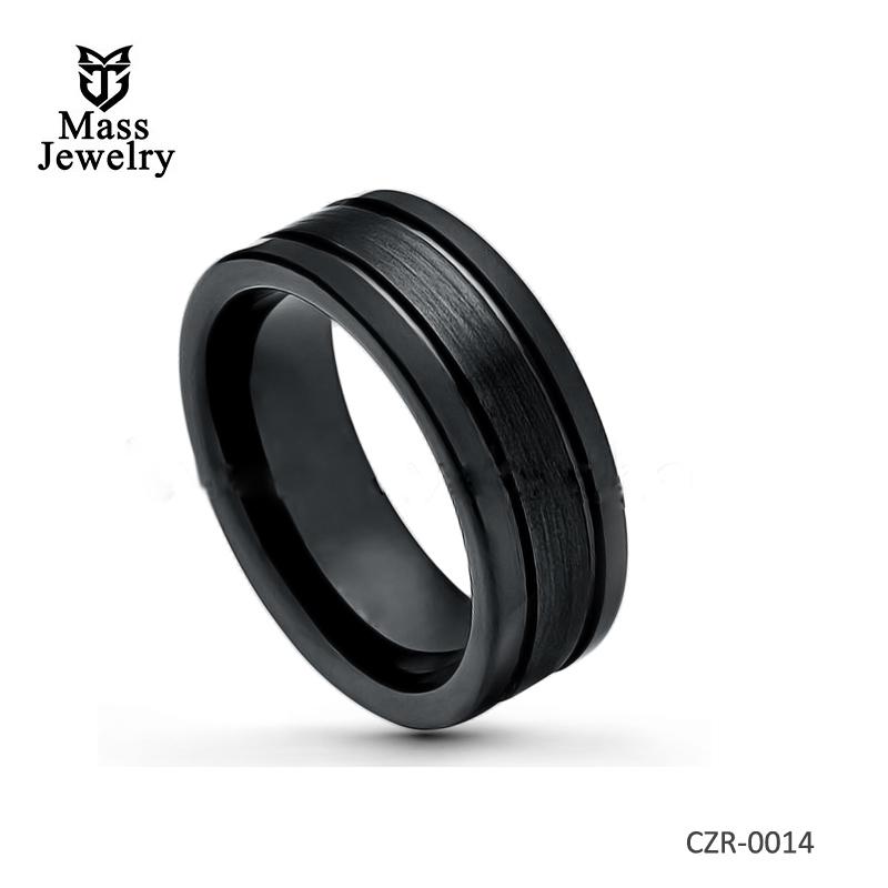 Side Grooves Black Ceramic Wedding Band - 8mm Polished & Brushed Finish Comfort Fit
