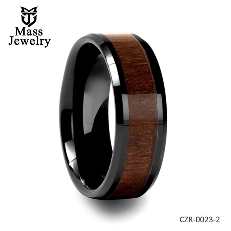 Beveled Black Ceramic Ring with Black Walnut Wood Inlay - 4mm - 12mm