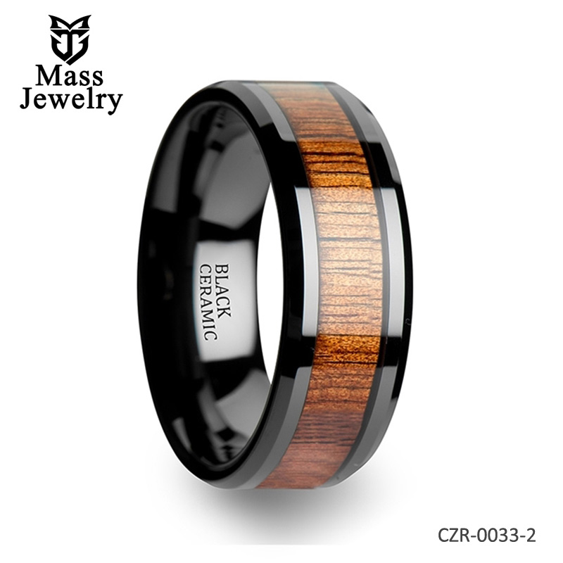 Beveled Edges Black Ceramic Ring with Koa Wood Inlay - 4mm - 12mm