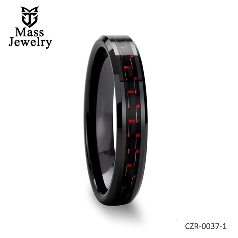 Beveled Edges Black Ceramic Ring with Black Carbon Fiber & Red Line - 4mm - 10mm