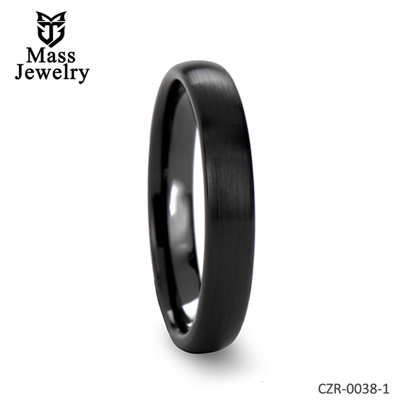 Domed Brush Finished Black Ceramic Wedding Band Ring - 4mm - 12mm