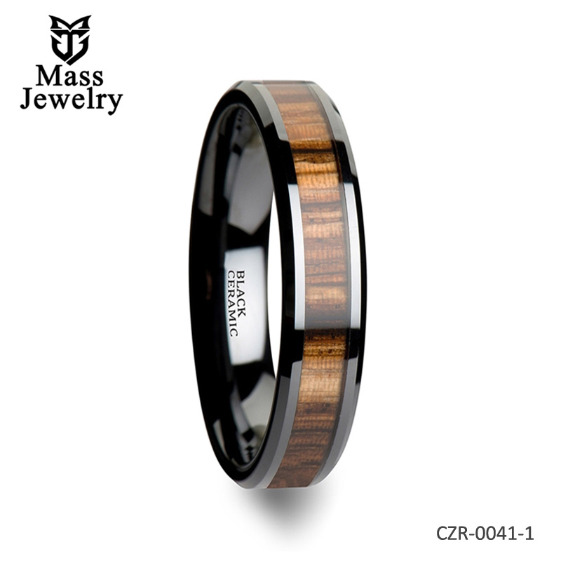 Black Ceramic Ring with Beveled Edges and Real Zebra Wood Inlay - 4mm - 10mm