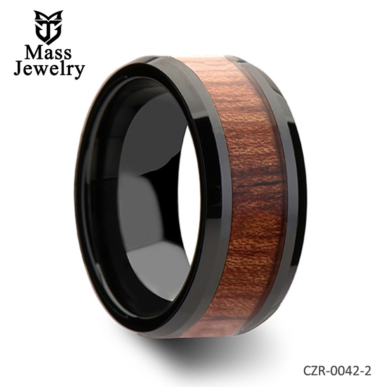 Black Ceramic Wedding Band with Beveled Edges and Rosewood Inlay - 4mm - 12mm
