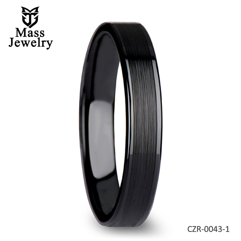Flat Black Ceramic Ring with Brushed Center & Polished Edges - 4 mm - 12 mm