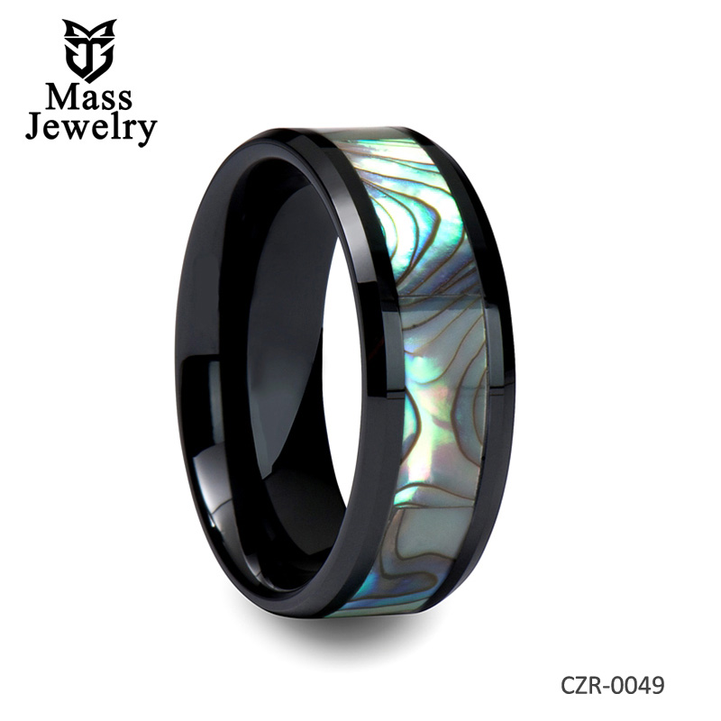 Beveled Black Ceramic Ring with Abalone Shell Inlay
