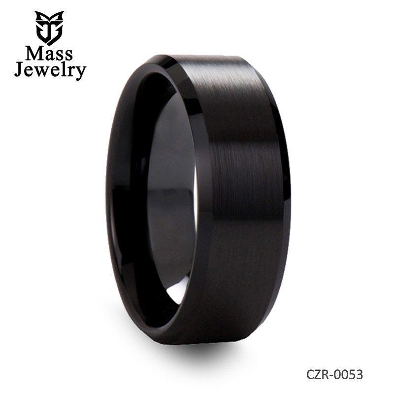 Brushed Finish Black Ceramic Wedding Band with Beveled Edges 6mm & 8mm