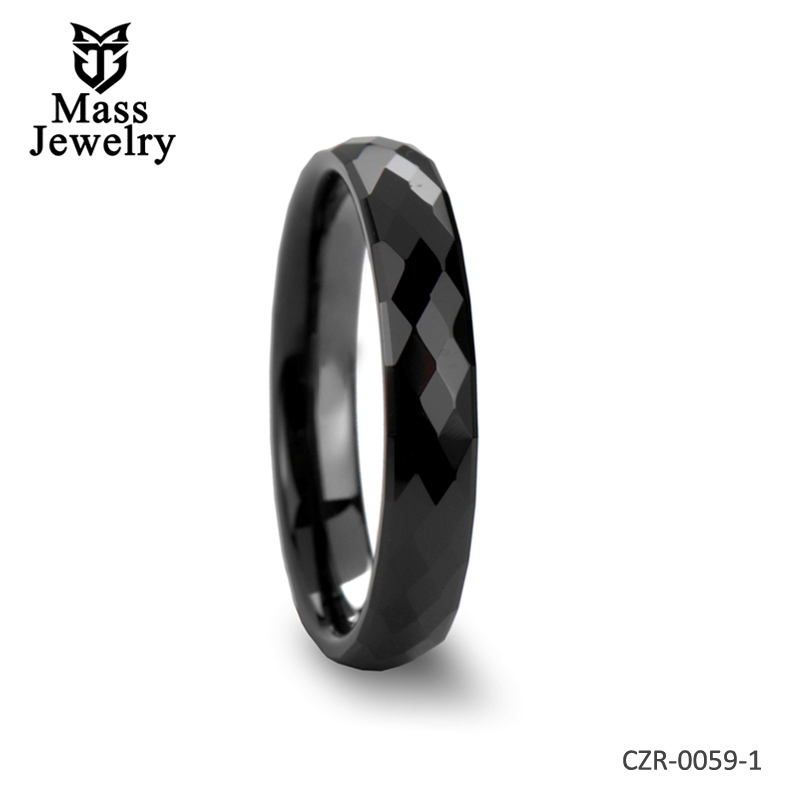 Diamond Faceted Black Ceramic Ring - 4mm - 8mm