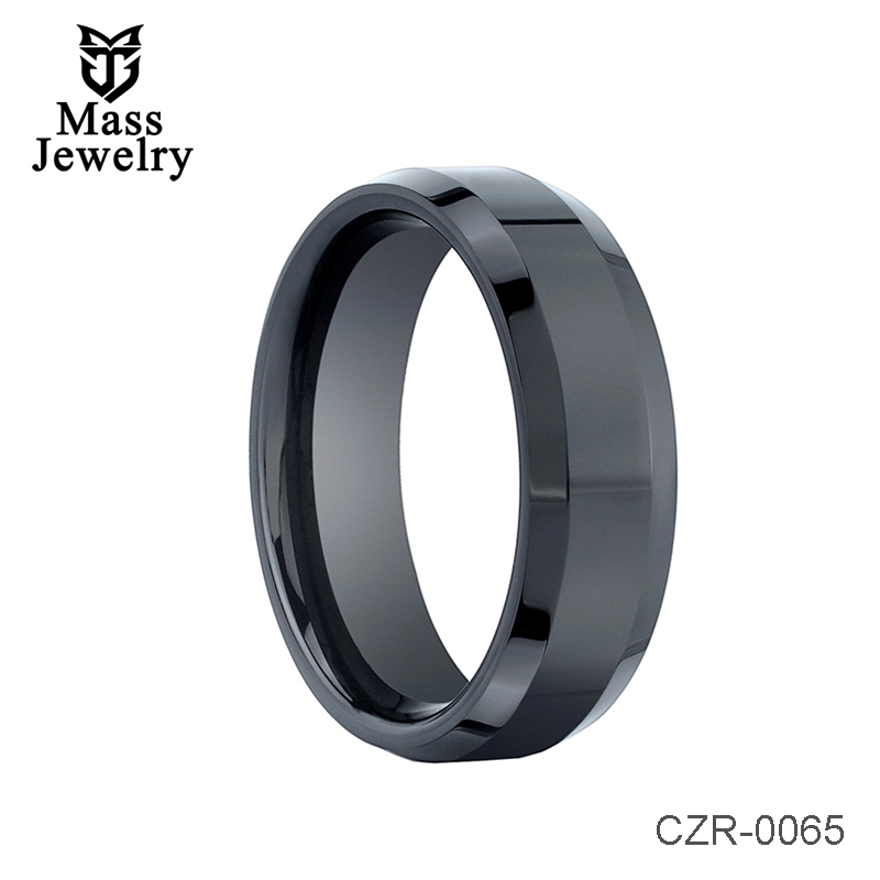 Black Ceramic Ring with Beveled Edges