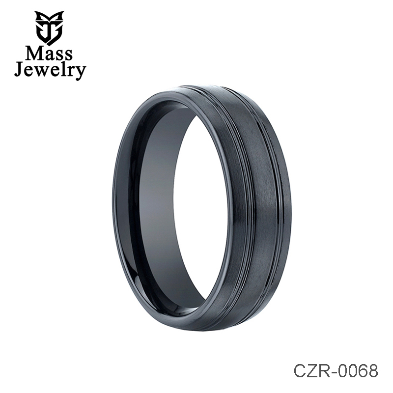 Domed Dual Offset Grooves Black Ceramic Ring  - 7mm