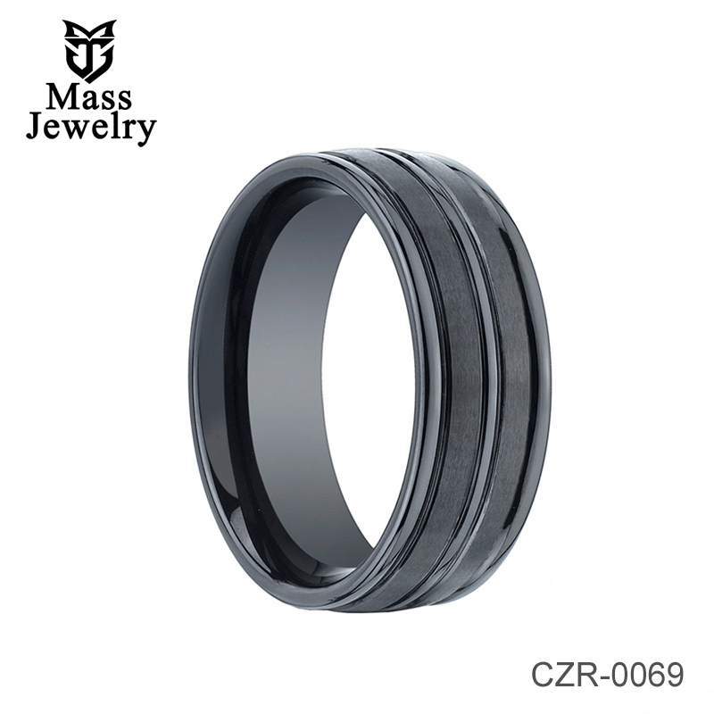 Domed Triple Grooved Black Ceramic Ring - 8mm