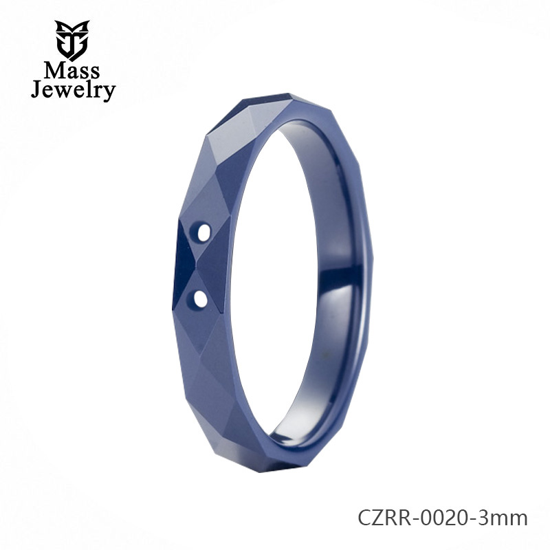 Multi-Faced Ring Blue Pure Ceramic Ring Semi Ceramic Jewelry High Quality Blue Ceramic Ring