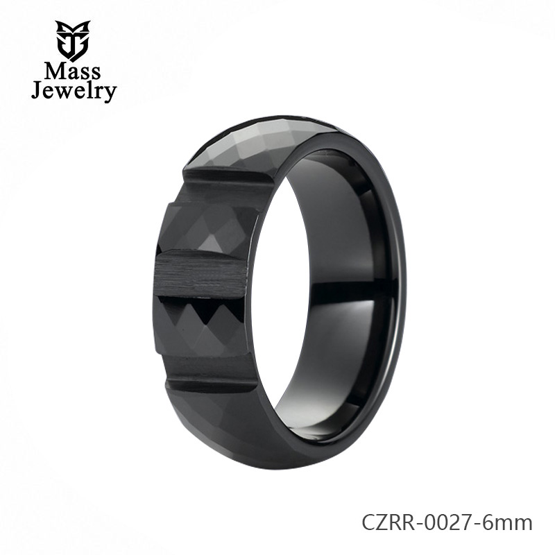 6Mm Pure Ceramic Ring Semi Ceramic Jewelry Elegant Stylesdiamond Cutting Ring