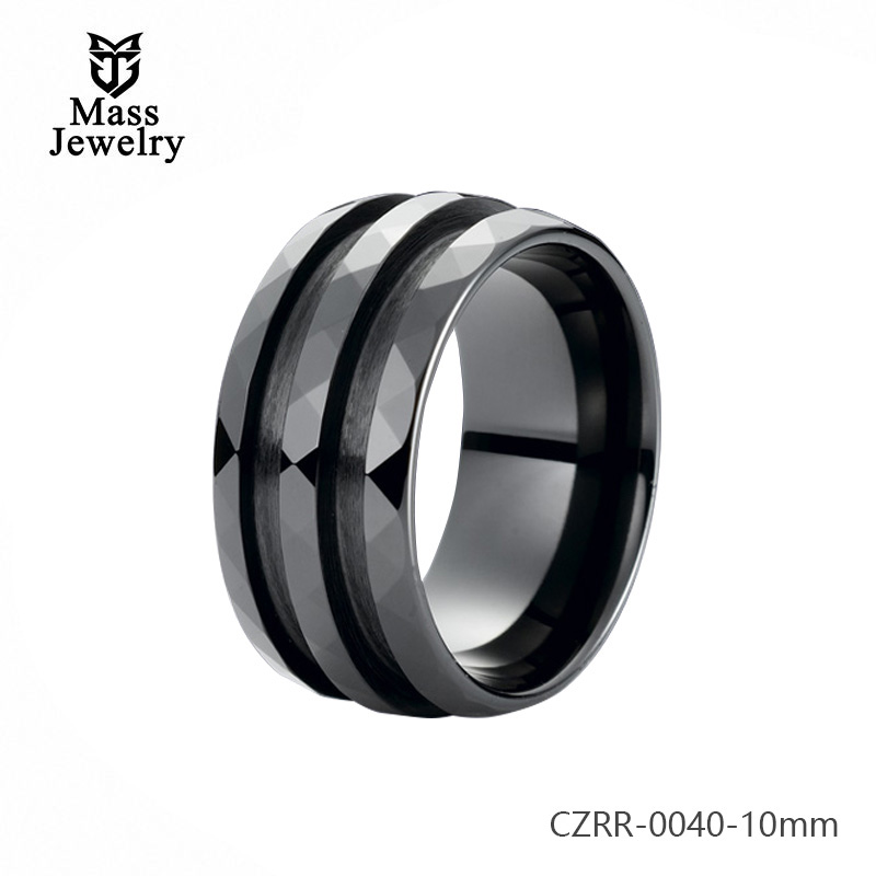 Zirconia Ring Pure Ceramic Ring Semi Ceramic Jewelry Double Grooved Ring