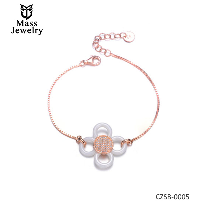 White Ceramic & CZ Flower Rose Bracelet