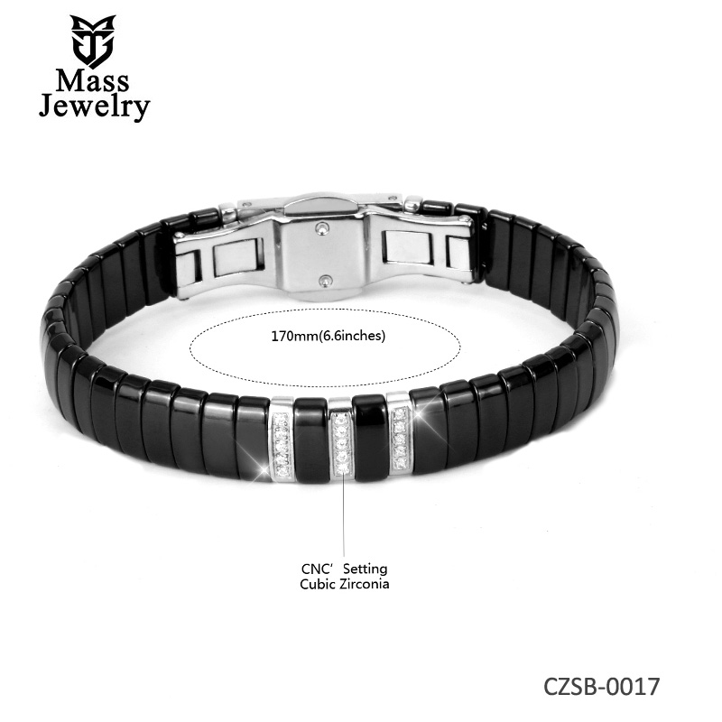 Ceramic Silver Bangles with CZ setting