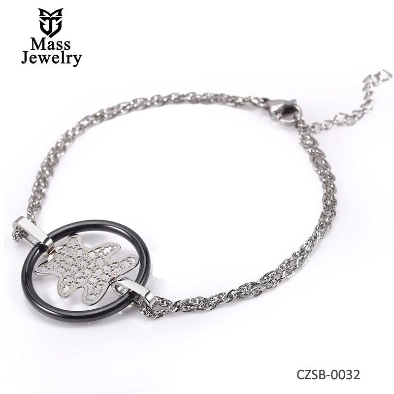 New Hollow Ceramic Circle Bear Charm Bracelet For Women Fashion Brand Bracelet