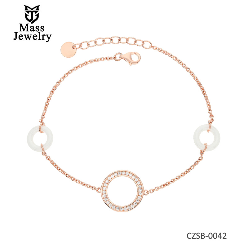 New Fashion Style Silver bracelet with ceramics and cubic zirconias Rose Gold Plating