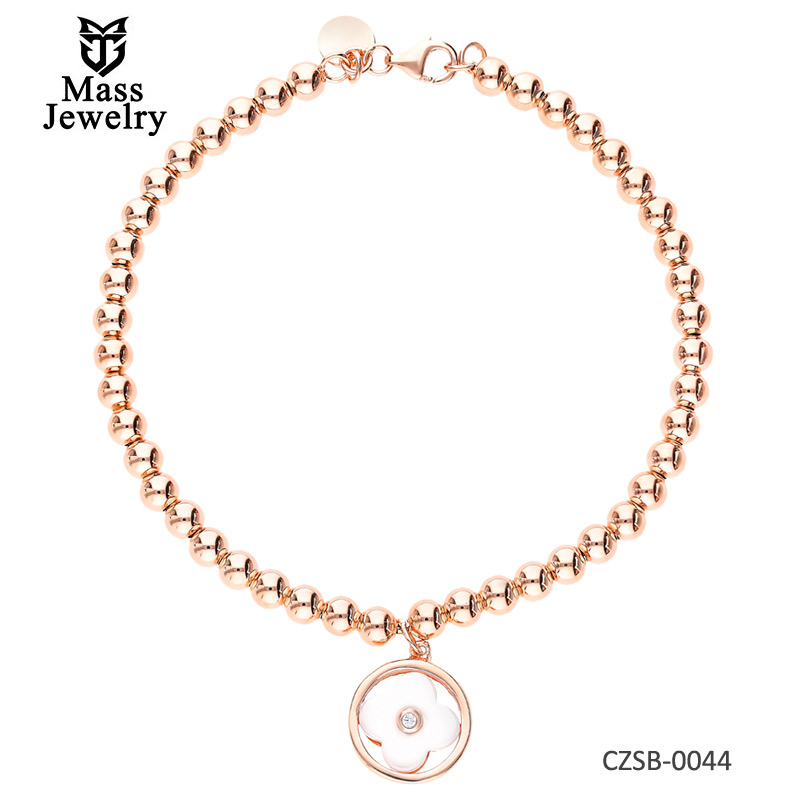 Silver bracelet with white ceramics and cubic zirconias Rose Gold Plating