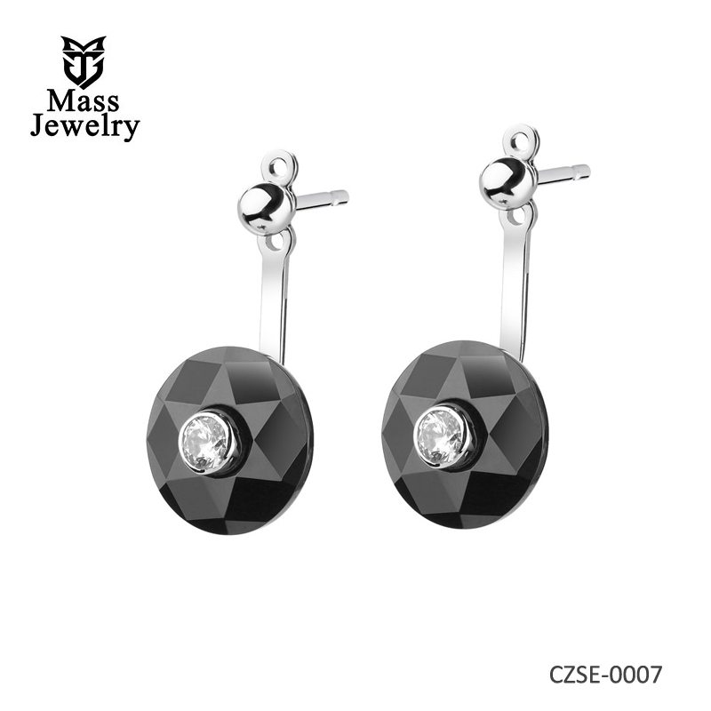 Silver Earrings With Ceramic And Cubic Zirconia