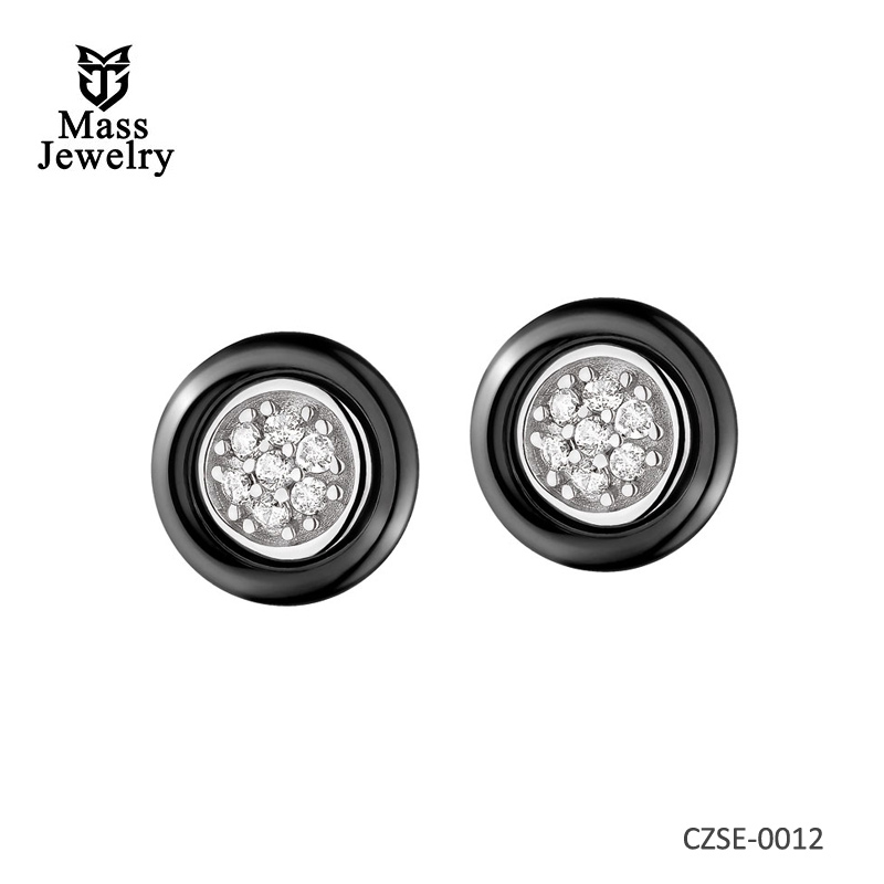 Silver Earrings With Ceramic With Cubic Zirconias