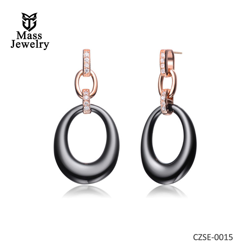 Black Ceramic Ovel Hanging With Clear CZ Rose Silver Earring
