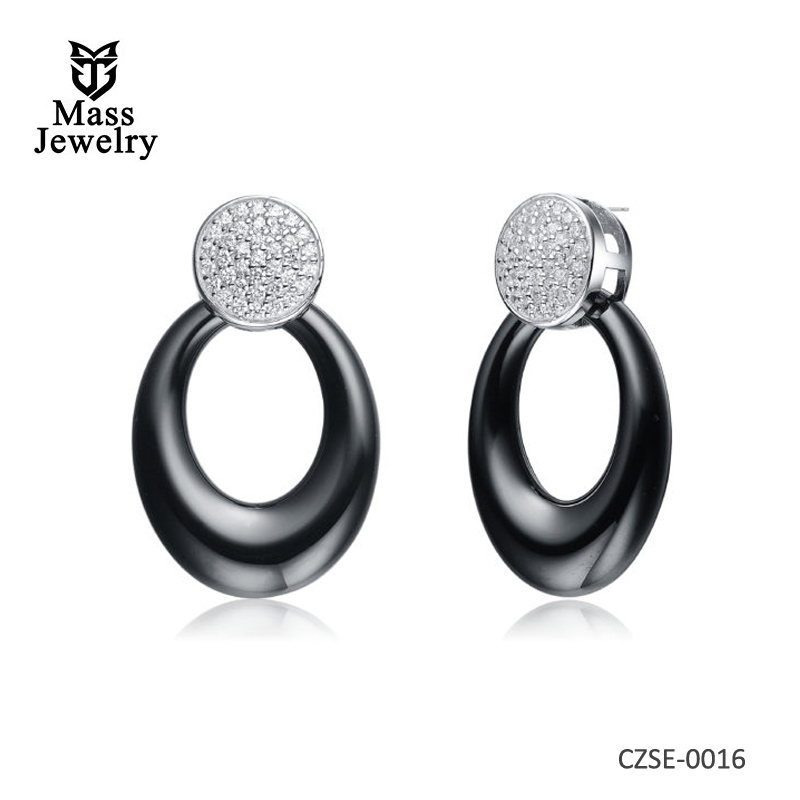 Black Ceramic Ovel CZ Earrings