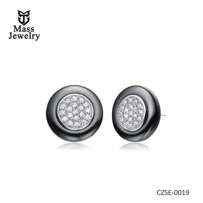 BlackCeramic Silver Earring