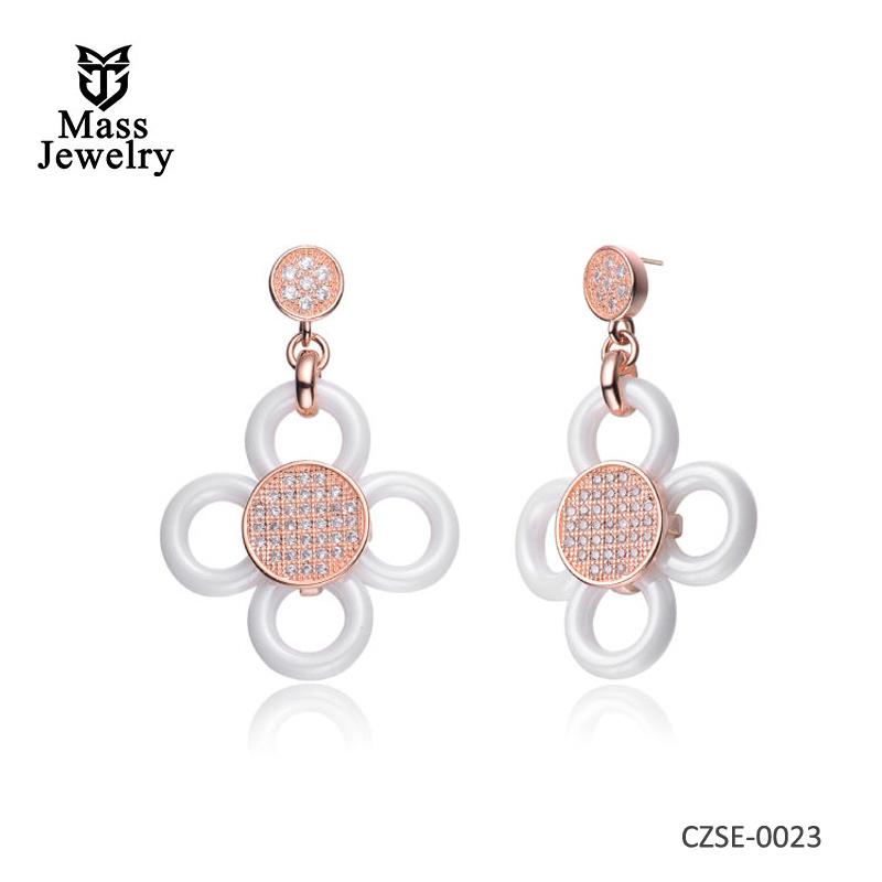 White Ceramic & CZ Flower Rose Earrings