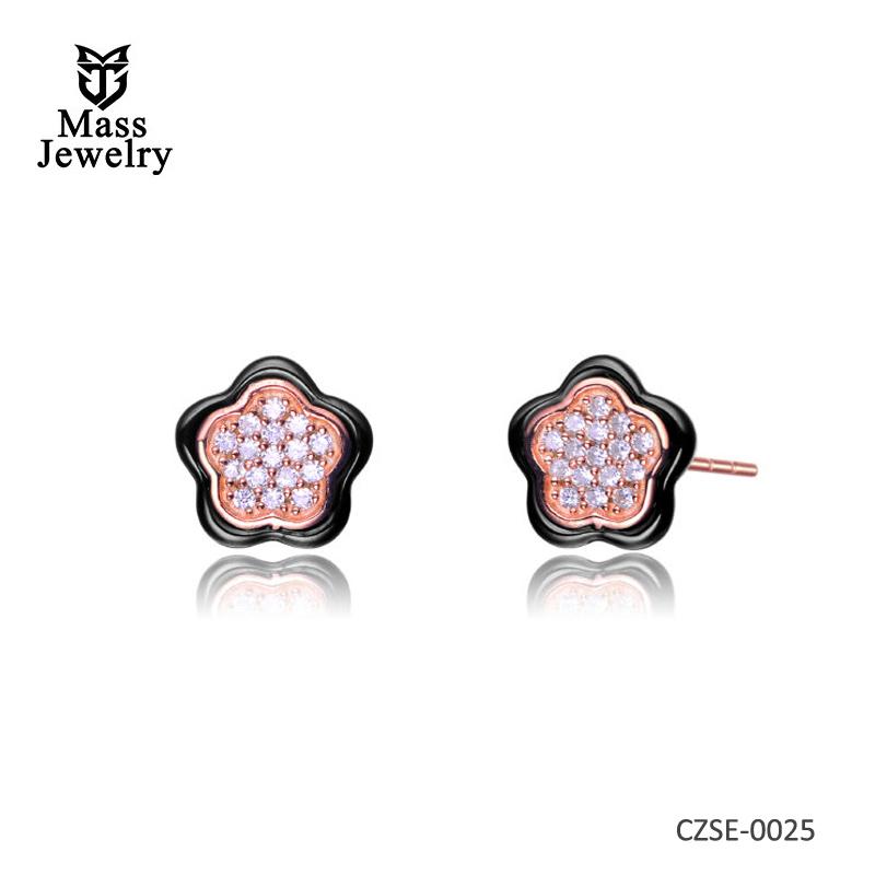 Rose Gold Black Ceramic Flower Earrings