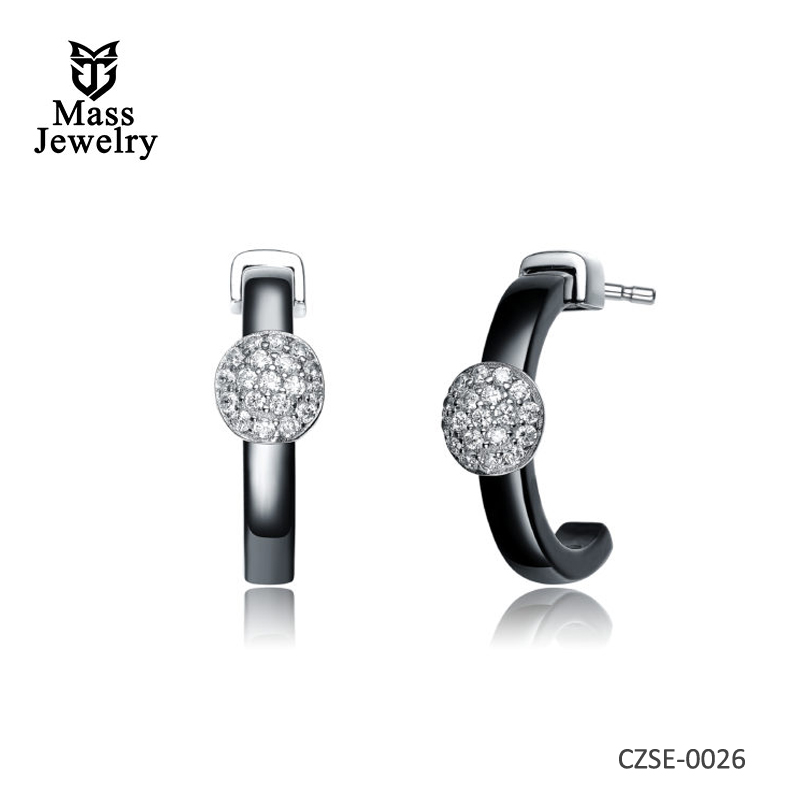 CZ Rhodium Plated Black Ceramic Hoop Style Earrings