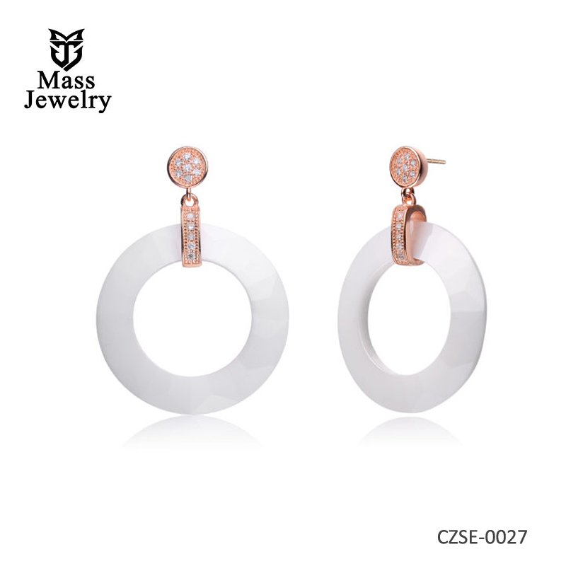 White Ceramic Circle Rose CZ Earrings