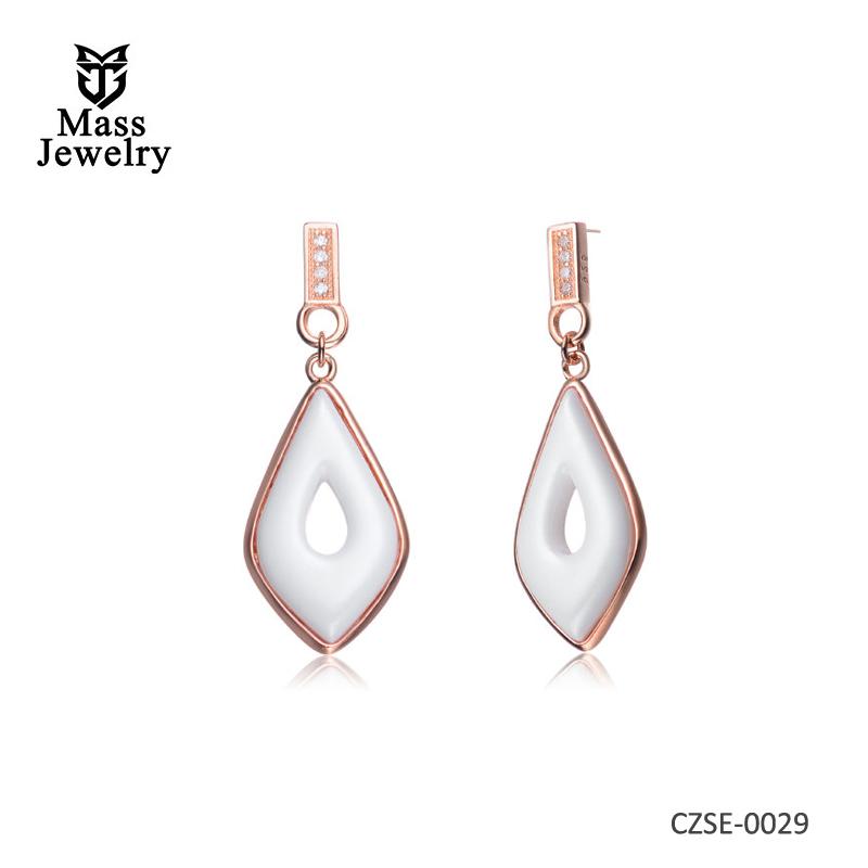 White Ceramic CZ Earrings