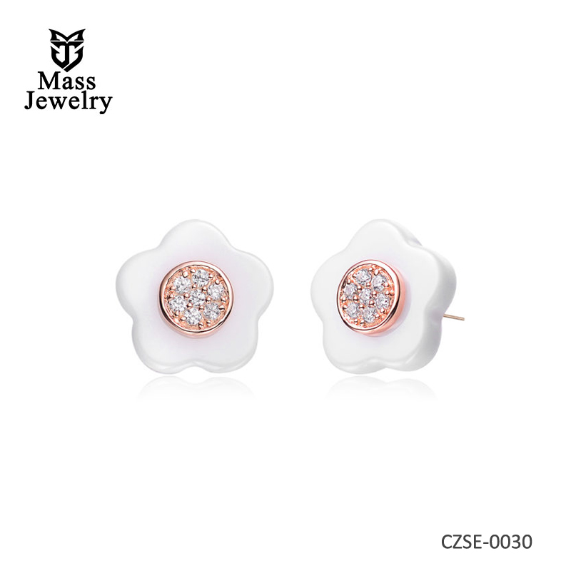 White Ceramic Flower Silver Earring