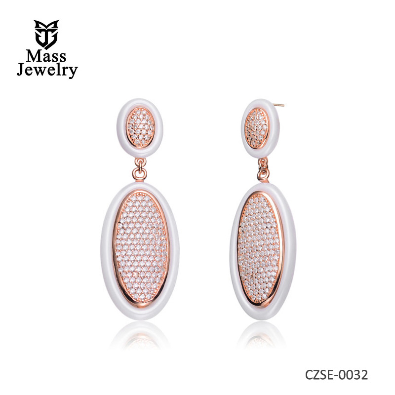 White Ceramic Ovel Hanging With Clear CZ Rose Silver Earrings