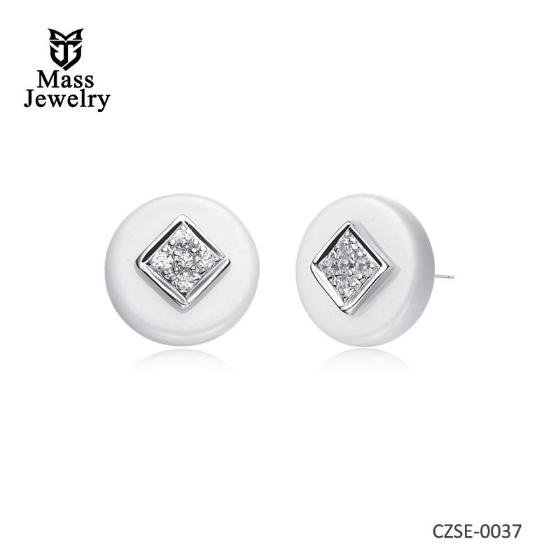White Ceramic Round Silver Earring