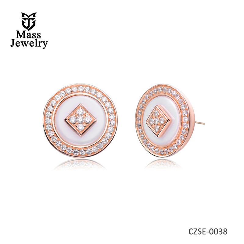 White Ceramic Rose Silver Round Earring