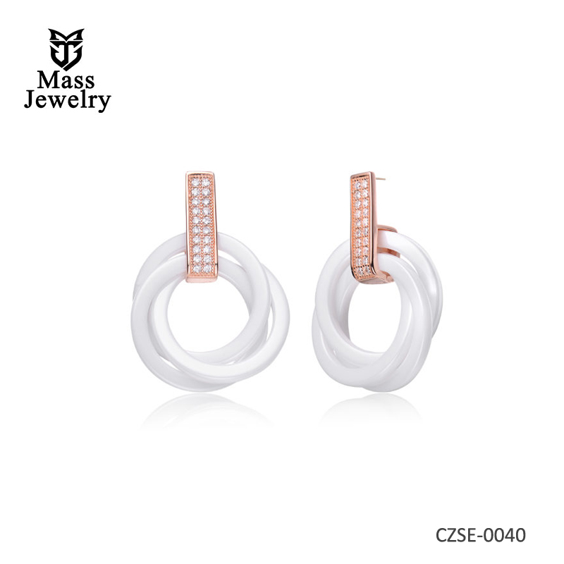 White Ceremic Tripple Round CZ Earring
