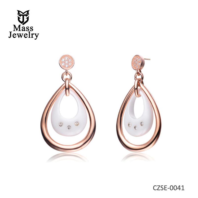 White Ceramic Tear Shape Rose Plated Earrings