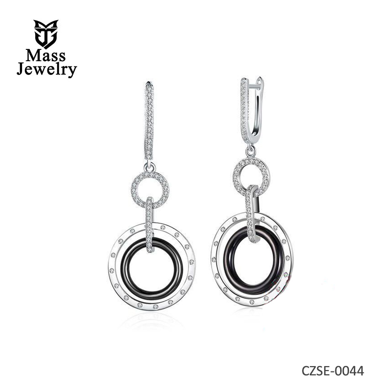 Trendy Round Black & Platinum Plated Ceramic Silver Earrings 4.8 CM * 2.1 CM