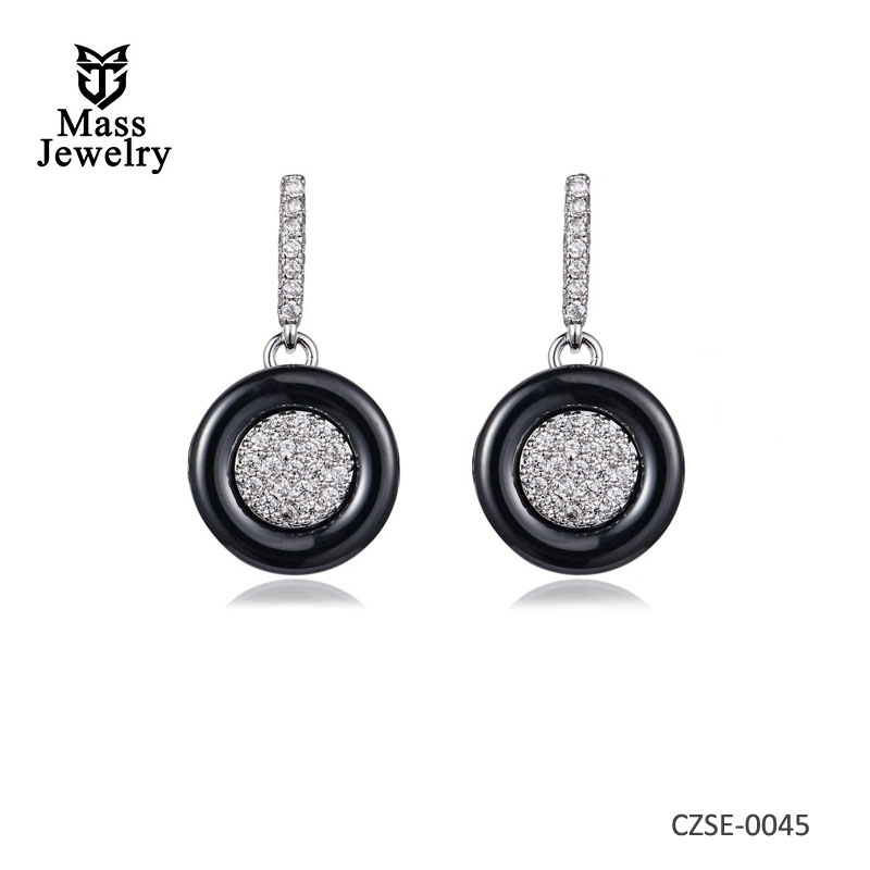 Black Ceramic  Earrings Pave Zirconia Cubic  Beautiful Silver Stud Earrings For  Women