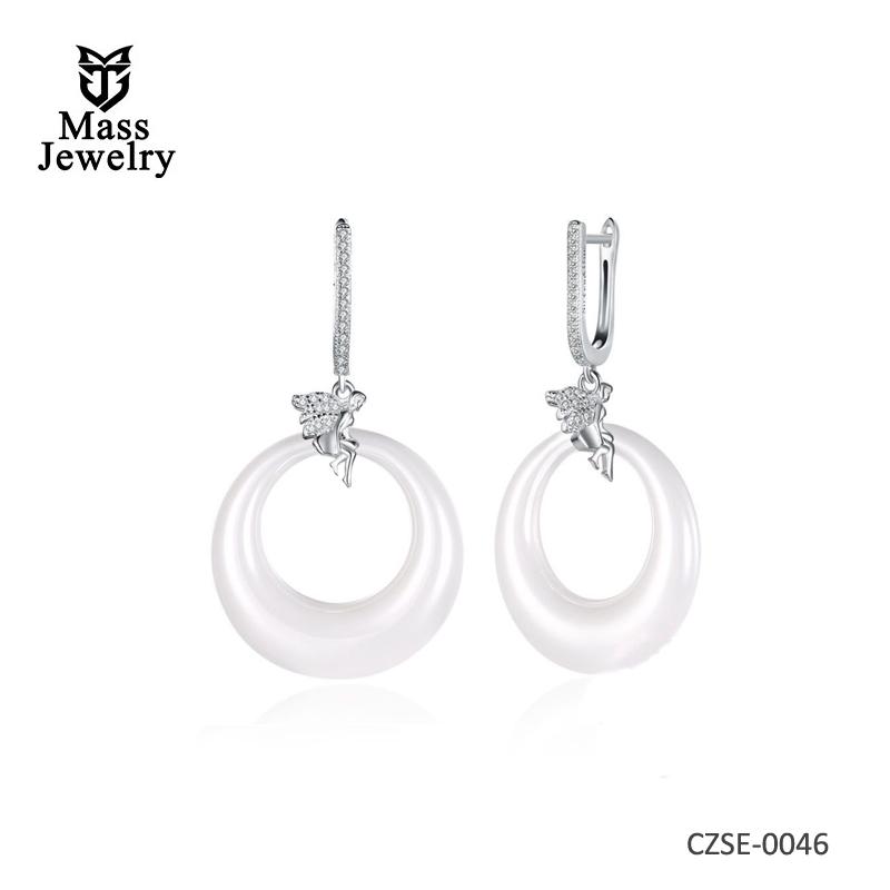 925 Sterling Silver Elegant White Ceramic earrings